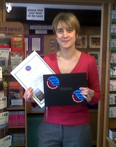 Nicola with Certficate & Guestbook at Appleby TIC