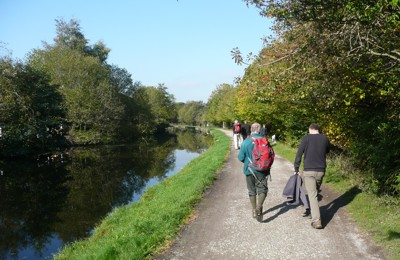Dales Way Association arrive from Bradford along the Canal at Saltaire