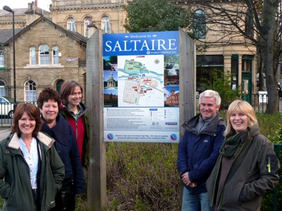 Friends of A Dales High Way at the new sign on Victoria Road, Saltaire. (L to R) Chris Grogan, Helen Minett, Julia Pearson, Matt Hannam and Liz Oxtoby.
