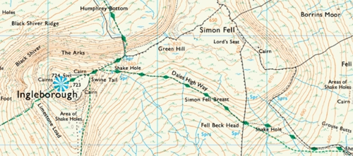The route of A Dales High Way on OS Explorer maps