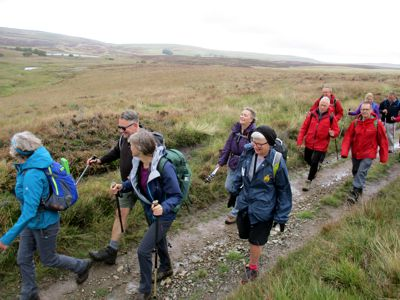 Dales High Way walkers near Sunbiggin Tarn, Ravenstonedale Moor