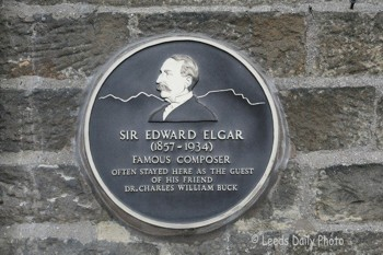 Plaque celebrating Elgar's Settle links