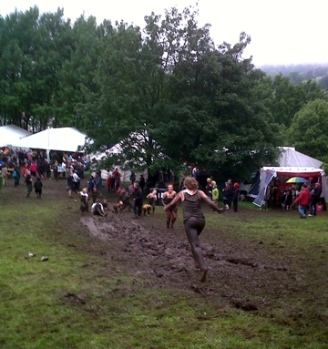 Mud slide at Dentdale Music and Beer Festival 2011