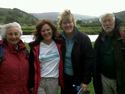 Radio 4 Ramblings on the Dales Way: Fleur Speakman, Chris Grogan, Clare Balding, Colin Speakman.