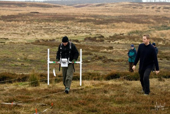 Volunteers conduct geophysical survey on Stanbury Hill - photo Mike Short