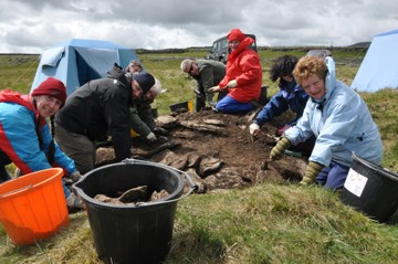 Volunteers form the Ingleborough Archaeology Group excavate the site at Selside