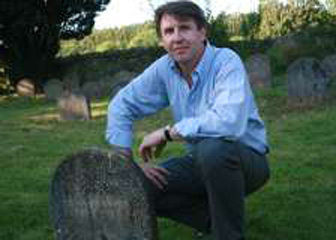 Professor Stephen Regan visiting Basil Bunting's grave at Brigflatts. Photo: John Rice