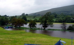 Lower fields are flooded