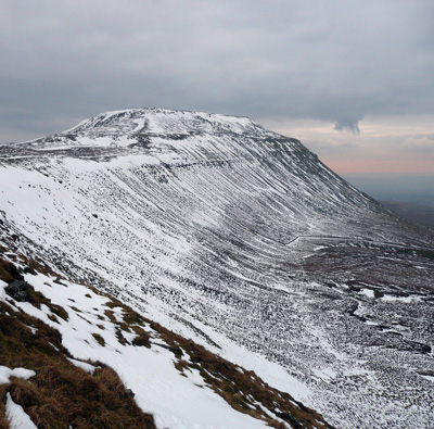 Ice covered Ingleborough, 9 March 2010