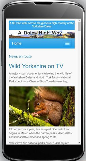 A Dales High Way website turns mobile-friendly