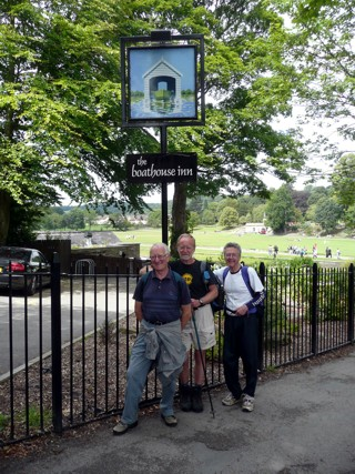 David King, Dave Shaw and Roger Clarke arrive in Saltaire