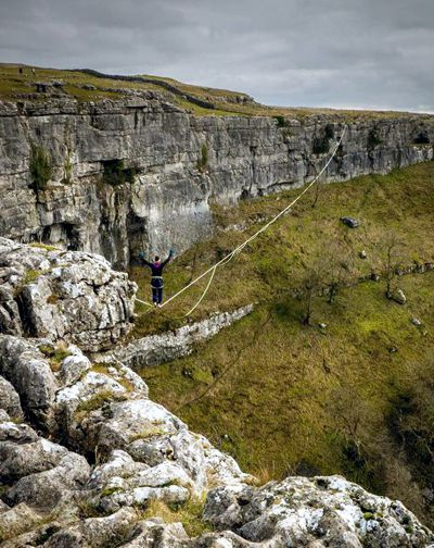 Slacklining above Malham Cove - photo courtesy Yorkshire Dales National Park Facebook Page