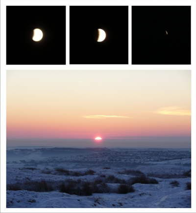 A total lunar eclipse introduces the 2010 winter solstice sunrise over Baildon Moor