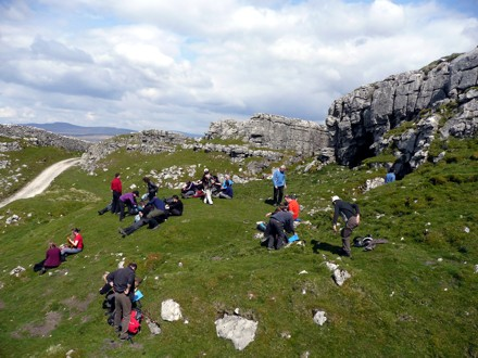 "Walkers rest at Jubilee Cave on ""A Taste of A Dales High Way"""