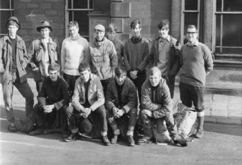 Bradford Grammar School Venture Scouts at Ilkley station, April 1969