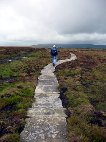 Flagstones replace boardwalk on Ilkley Moor