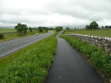 The new walk and cycle way alongside the A685