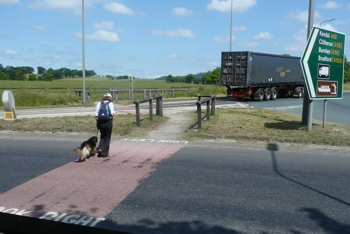 Safer crossing point on the roundabout on the A65
